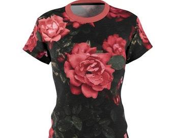 Womens All Over Print Cut Sew Tee Shirt, Womens Floral Flowers Roses Print Shirt, Moisture Wicking T Shirt, S-2Xl Gym Workout Summer Tee