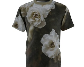 Unisex All Over Print Cut Sew Tee Shirt, Boho Bohemian Floral Roses Flowers Shirt, Moisture Wicking Tee, S-3Xl Hippie Gym Workout Clothing
