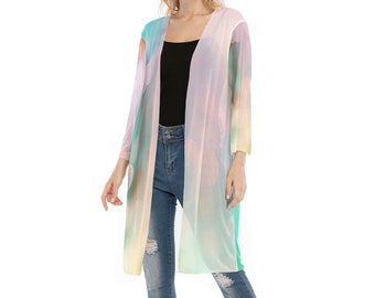 All-Over Print Women's V-neck Mesh Cardigan, Flowy Thin Cardigan Robe, Boho Bohemian Flowy Mesh Long Kimono, Hippie V Neck Cardigan Shirt