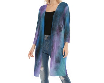 All-Over Print Women's V-neck Mesh Cardigan, Flowy Thin Cardigan Robe, Boho Bohemian Flowy Mesh Celestial Cardigan, Celestial Marble Shirt