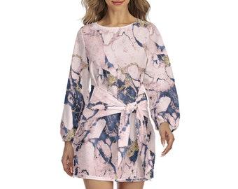 Marble Print Women's Lantern Sleeve Dress, Boho Bohemian Flowy Loose Fitting Dress, Womens Dress, S-2XL Size Front Tie Wrap Dress Apparel