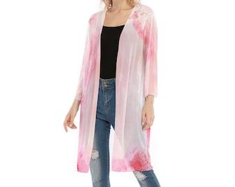 All-Over Print Women's V-neck Mesh Cardigan, Flowy Thin Cardigan Robe, Boho Bohemian Flowy Mesh Shirt, Floral Print Shirt, Hippie V Neck