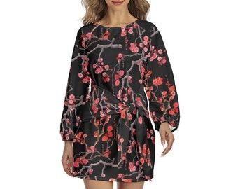 Cherry Blossom Print Women's Lantern Sleeve Dress, Boho Bohemian Flowy Loose Fitting Dress, Womens Front Tie Wrap Dress Japanese Floral