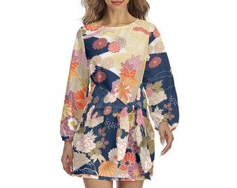 Japanese Floral Print Women's Lantern Sleeve Dress, Boho Bohemian Flowy Loose Fitting Dress, Front Tie Wrap Dress, Flower Wrap Dress