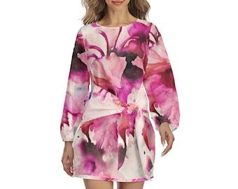 Floral Print Women's Lantern Sleeve Dress, Boho Bohemian Flowy Loose Fitting Dress, Womens Dress, Watercolor Print Tie Wrap Dress Apparel