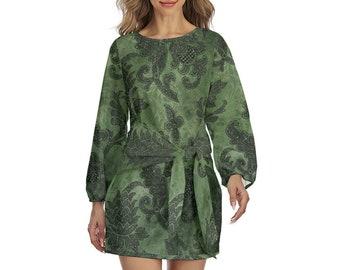 Filigree Print Women's Lantern Sleeve Dress, Boho Bohemian Flowy Loose Fitting Dress, Womens Dress, S-2XL Size Front Tie Dress Apparel