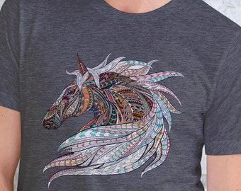 Unisex Jersey Short Sleeve Tee, Horse Animal Totem Hippie Boho Bohemian Tee Shirt, Bella Canvas 3001, Unisex Tee XS-3XL