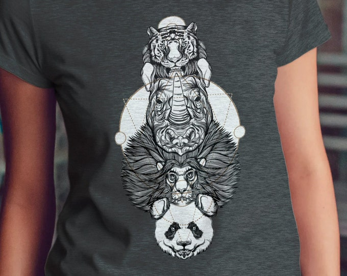 Unisex Jersey Short Sleeve Tee, Panda Bear Lion Rhino Animal Totem Pole Hippie Boho Bohemian Tee Shirt, Bella Canvas 3001, Unisex Tee XS-3XL