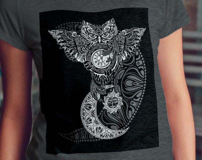 Unisex Jersey Short Sleeve Tee, Owl Bird Animal Totem Hippie Boho Bohemian Tee Shirt, Bella Canvas 3001, Unisex Tee XS-3XL