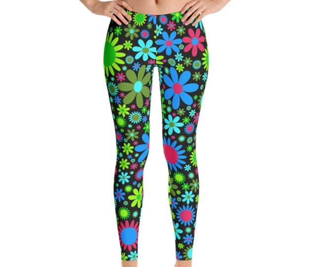 Womens Leggings, Boho Daisies Flowers Print Leggings,  Exercise Yoga Pants, Bohemian Filigree Hippy Custom Printed Leggings XS S M L XL Size