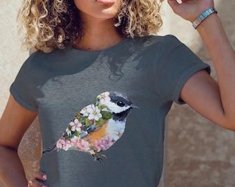 Unisex Jersey Short Sleeve Tee, Floral Bird Boho Bohemian Hippie Tee Shirt, Bella Canvas 3001, Unisex Mens Womens Graphic Tee, XS-3XL