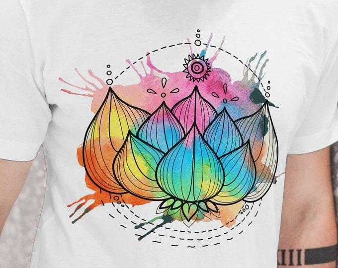 Unisex Jersey Short Sleeve Tee, Lotus Flower Zen Hippie Boho Bohemian Tee Shirt, Bella Canvas 3001, Unisex Tee XS-3XL