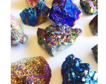 Raw Titanium Druzy Crystal Quartz Geode, Crystal Quartz Cluster, Mineral Specimen Rock Geode, Rough Rainbow Gold Blue Druzy Geode Cluster