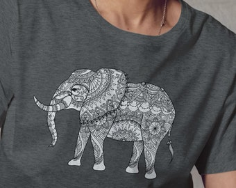 Unisex Jersey Short Sleeve Tee, Elephant Animal Drawing Hippie Boho Bohemian Tee Shirt, Custom Bella Canvas 3001, Unisex Tee, XS-3XL