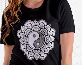 Unisex Jersey Short Sleeve Tee, Yin Yang Hippie Boho Bohemian Tee Shirt, Custom Bella Canvas 3001, Unisex Hippie Tee, XS-3XL