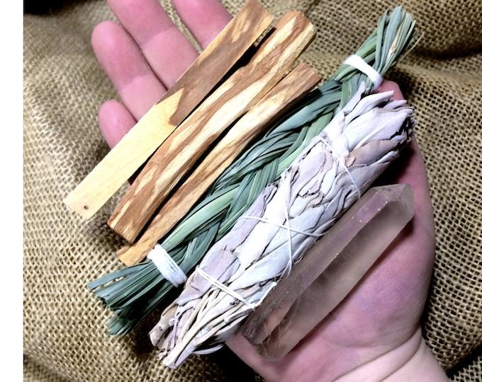 Smudge Sampler Kit, Smudge Supplies, White Sage, Palo Santo, Spirit Cleansing, Smudge Kit, House Blessing Kit, Sage Crystal Sampler Pack