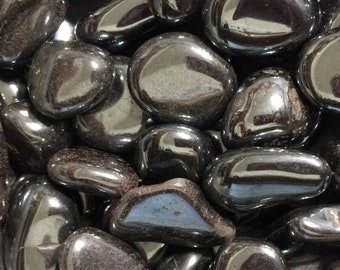 Bulk 1lb Tumbled Mixed Sizes Hematite Gemstones, Bulk Wholesale Silver Gem Stones, Tumbled Gemstones Lot, Bulk Crystals, Bulk Gemstones