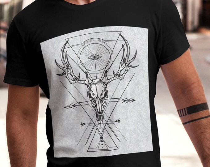 Unisex Jersey Short Sleeve Tee, Deer Skull Animal Totem Floral Drawing Hippie Boho Bohemian Tee Shirt, Bella Canvas 3001, Unisex Tee XS-3XL