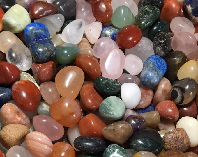 Bulk 1lb Tumbled Mixed Variety Gemstones, A/B Grade Mixed Wholesale Polished Gems, Gemstone Tumbled Stones, Tumbled Gemstones Crystals Rocks