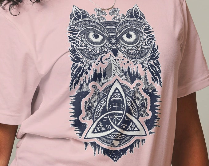 Unisex Jersey Short Sleeve Tee, Owl Bird Animal Totem Goddess Hippie Boho Bohemian Tee Shirt, Bella Canvas 3001, Unisex Tee XS-3XL