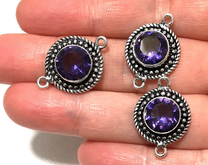 Sterling Silver Purple Glass Connector Link, Jewelry Gemstone Connectors, Faceted Glass Sterling Cabochon Link, Bezel Set Bracelet Component