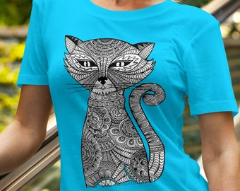 Unisex Jersey Short Sleeve Tee, Cat Animal Drawing Hippie Boho Bohemian Tee Shirt, Custom Bella Canvas 3001, Unisex Tee, XS-3X