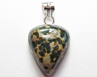 Womens Pendant,Orbital Jasper Gemstone Pendant, Sterling Silver Pendant, Boho Necklace, Bohemian Gemstone Jewelry, Boho Jewelry