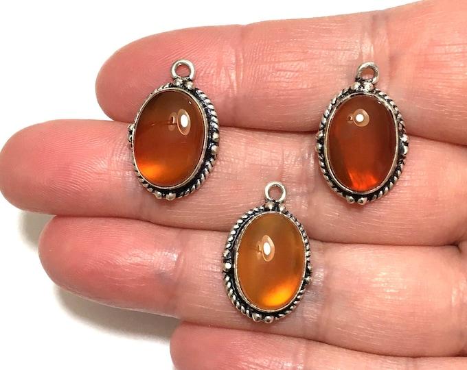 Sterling Silver Carnelian Agate Jewelry Drops, Jewelry Pendant Drop, Carnelian Cabochon Drop, Bezel Set Earrings Jewelry Component