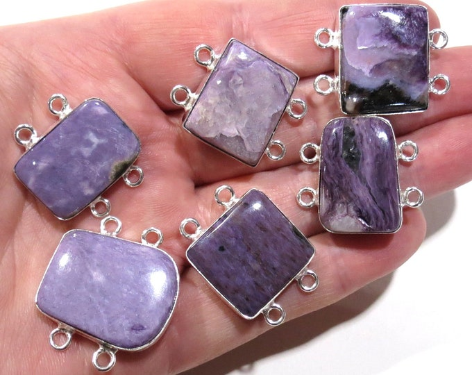 Sterling Silver Purple Charoite Connector Link, Jewelry Gemstone Connectors, Charoite Cabochon Link, Bezel Set Bracelet Jewelry Component