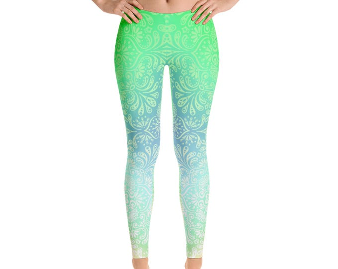 Womens Leggings, Boho Damask Geometric Leggings,Exercise Yoga Pants, Bohemian Boho Pastel Pattern Custom Printed Leggings XS S M L XL Size