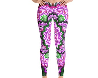 Leggings, Boho Batik Print Leggings, Womens Exercise Yoga Pants, Bohemian Mandala Flower Polyester Spandex Leggings XS S M L XL Size