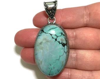 Womens Pendant, Blue Magnesite Gemstone Pendant, Sterling Silver Pendant, Boho Necklace, Bohemian Gemstone Jewelry, Boho Jewelry