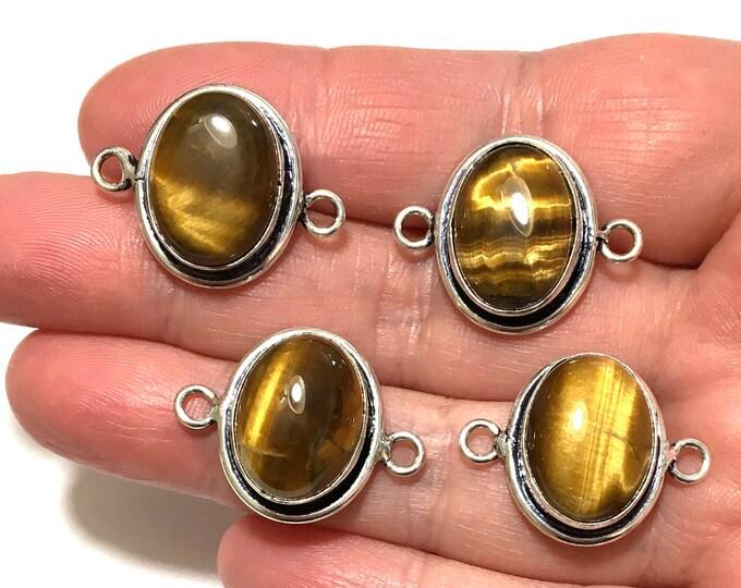 Sterling Silver Tiger Eye Connector Link, Jewelry Gemstone Connectors, Tiger Eye Cabochon Link, Bezel Set Bracelet Link, Bracelet Component