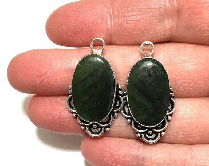 2pcs Set Sterling Silver Green Jade Earring Drops, Jewelry Gemstone Connector Drop, Jade Gemstone Cabochon Bezel Earring Components