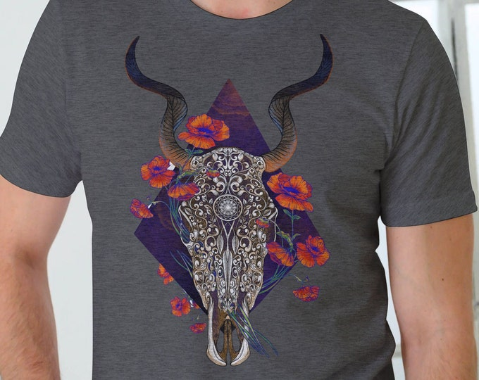 Unisex Jersey Short Sleeve Tee,Deer Skull Animal Totem Floral Hippie Boho Bohemian Tee Shirt, Bella Canvas 3001, Unisex Tee XS-3XL