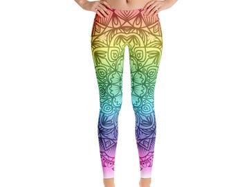 Womens Leggings, Boho Rainbow Mandala Print Leggings, Exercise Yoga Pants, Bohemian Tribal Custom Printed Womens Leggings XS S M L XL Size