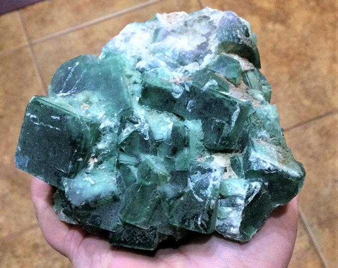 LARGE 4.9lbs Natural Green Cubic Fluorite Crystal Cluster, Fluorite Cubes, Cubic Fluorite Cluster, Stone Rock Crystal Gemstone Specimen