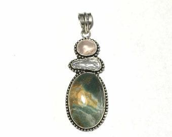 Gemstone Pendant, Sterling Silver Pendant, Ocean Jasper Pendant, Rose Quartz Pearl Pendant, Sterling Gem Necklace, Crystal Sterling Pendant