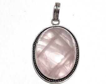 Womens Pendant, Pink Rose Quartz Gemstone Pendant, Sterling Silver Pendant, Pink Gemstone Necklace, Pink Gem Jewelry, Boho Bohemian Crystal