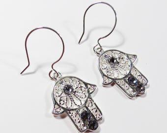 Sterling Silver Hamsa Earrings, Sterling Silver Filled Swarovski Crystal Earrings, Hamsa Hook Earrings, Dangle Crystal Earrings Jewelry