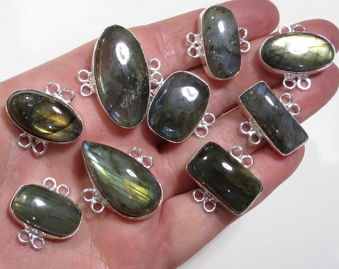 Sterling Silver Labradorite Connector Link, Jewelry Gemstone Connectors, Flashy Labradorite Cabochon Link, Bezel Set Bracelet Link Component