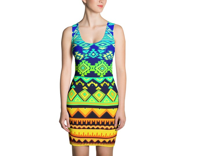 Boho Tribal Geometric Print Dress, Womens Bohemian Sleeveless Tank Stretch Dress, Bohemian Hippie Polyester Spandex Dress XS S M L XL Sizes