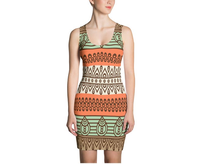 Boho Tribal Aztec Print Dress, Womens Bohemian Sleeveless Tank Stretch Dress, Bohemian Hippie Polyester Spandex Dress XS S M L XL Sizes