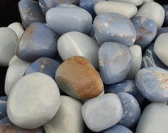 Bulk 1lb Tumbled Blue Angelite Gemstones, Bulk Wholesale Angelite Tumbled Stones, Angelite Tumbled Gemstones, Bulk Crystals, Bulk Gemstones