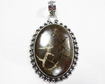 Womens Pendant, Dragon Septarian Nodule Gemstone Pendant, Sterling Silver Pendant, Boho Necklace, Bohemian Gemstone Jewelry, Boho Jewelry