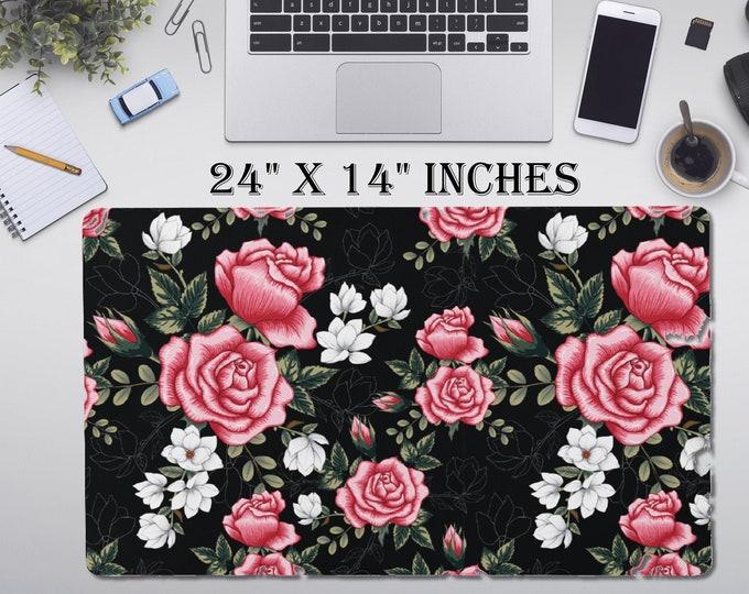 "LARGE Roses Floral Desk Pad, 24"" x 12""in Non Slip Desk Pad, Office Accessories, Computer Tech Supplies, Boho Bohemian Neoprene Desk Mat"