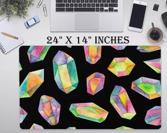 "LARGE Crystal Desk Pad, 24"" x 12"" Inch Non Slip Desk Pad, Office Accessories, Computer Tech Supplies, Boho Bohemian Hippie Neoprene Desk Mat"