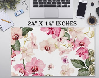 "LARGE Flowers Floral Desk Pad, 24"" x 14""in Non Slip Desk Pad, Office Accessories, Computer Tech Supplies, Boho Bohemian Neoprene Desk Mat"