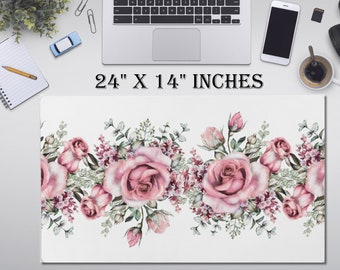 "LARGE Flowers Floral Desk Pad, 24"" x 14""in Non Slip Desk Pad, Office Accessories, Computer Tech Supplies, Boho Bohemian Neoprene Desk Mat"