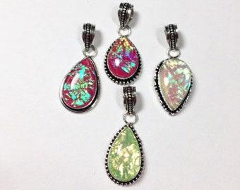 Bulk Lot 4pcs Dichroic Glass Pendants, Sterling Silver Glass Pendant, Dichroic Glass Necklace, Bohemian Jewelry, Sterling Pendant